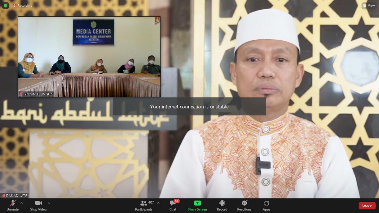 Pengadilan Negeri Simalungun Mengikuti Acara Pengajian dari Dirjen Badilum